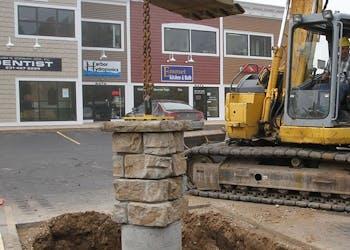 Harbor Plaza Sign Foundation by Pole Base